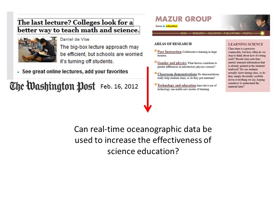 Feb. 16, 2012 Can real-time oceanographic data be used to increase the effectiveness of science education?