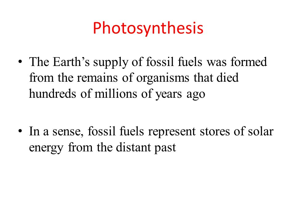 Photosynthesis The Earth's supply of fossil fuels was formed from the remains of organisms that died hundreds of millions of years ago In a sense, fossil fuels represent stores of solar energy from the distant past
