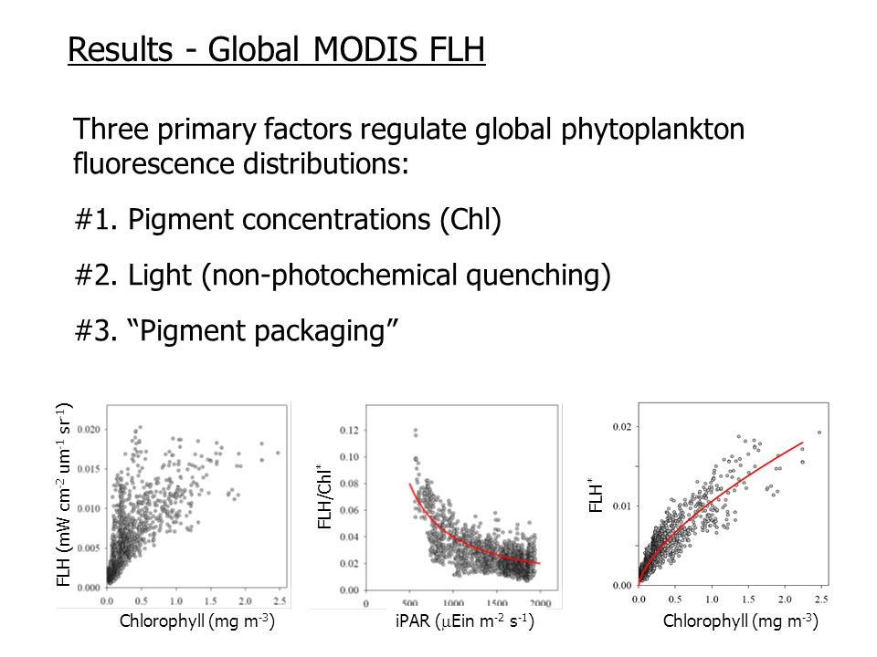 Three primary factors regulate global phytoplankton fluorescence distributions: #1.