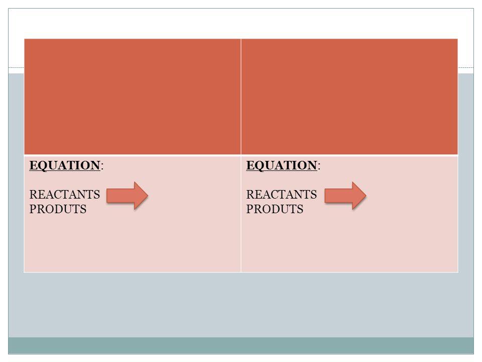 EQUATION: REACTANTS PRODUTS EQUATION: REACTANTS PRODUTS