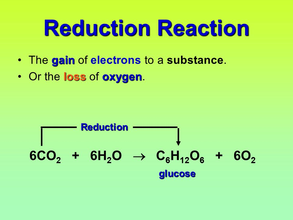 Reduction Reaction gainThe gain of electrons to a substance.
