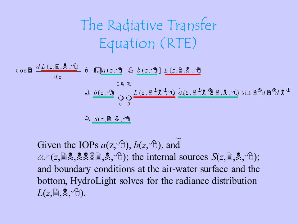 The Radiative Transfer Equation (RTE) NOTE: The RTE has the TOTAL absorption and VSF.