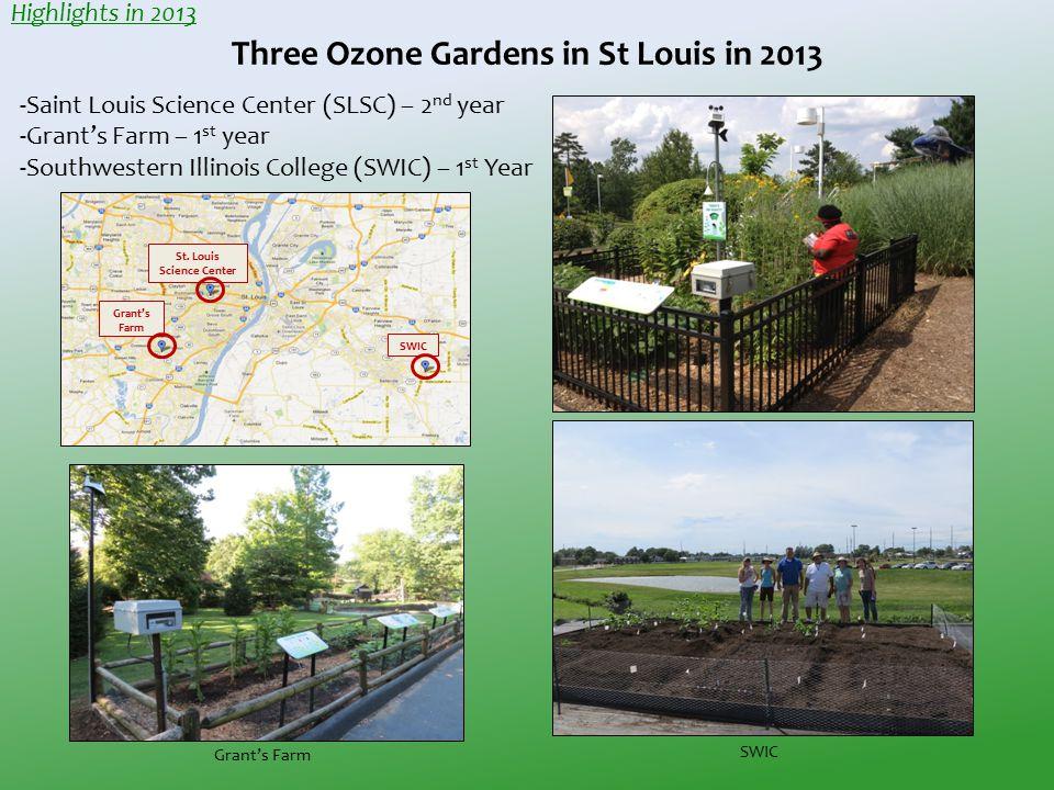 St. Louis Science Center Grant's Farm SWIC Three Ozone Gardens in St Louis in 2013 -Saint Louis Science Center (SLSC) – 2 nd year -Grant's Farm – 1 st