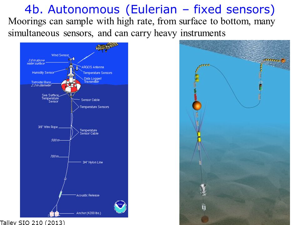 Moorings can sample with high rate, from surface to bottom, many simultaneous sensors, and can carry heavy instruments 4b. Autonomous (Eulerian – fixe