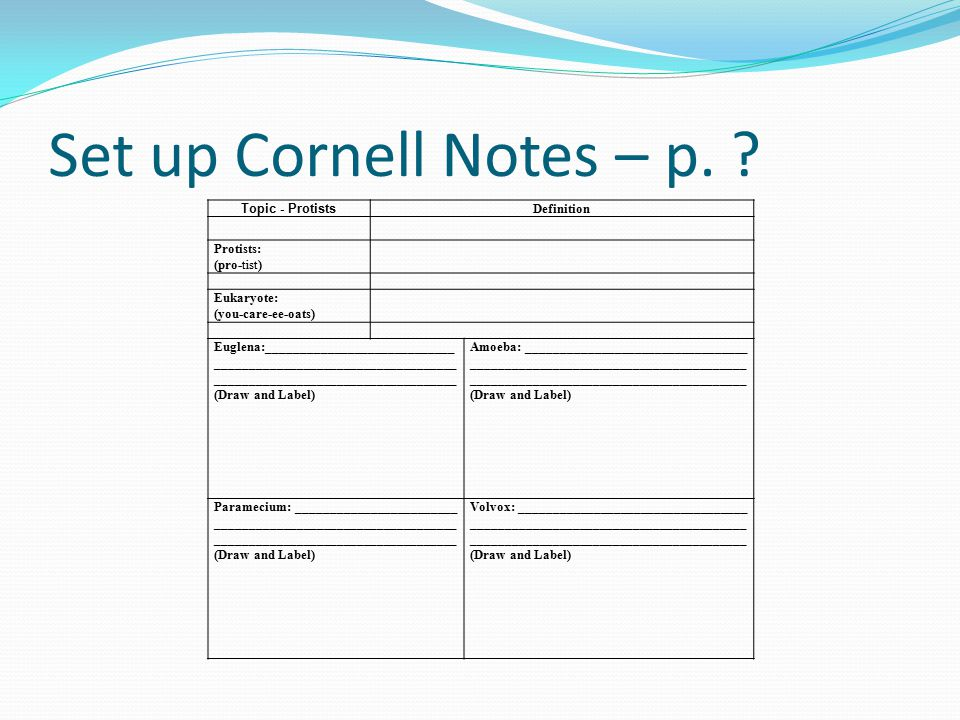 Set up Cornell Notes – p.