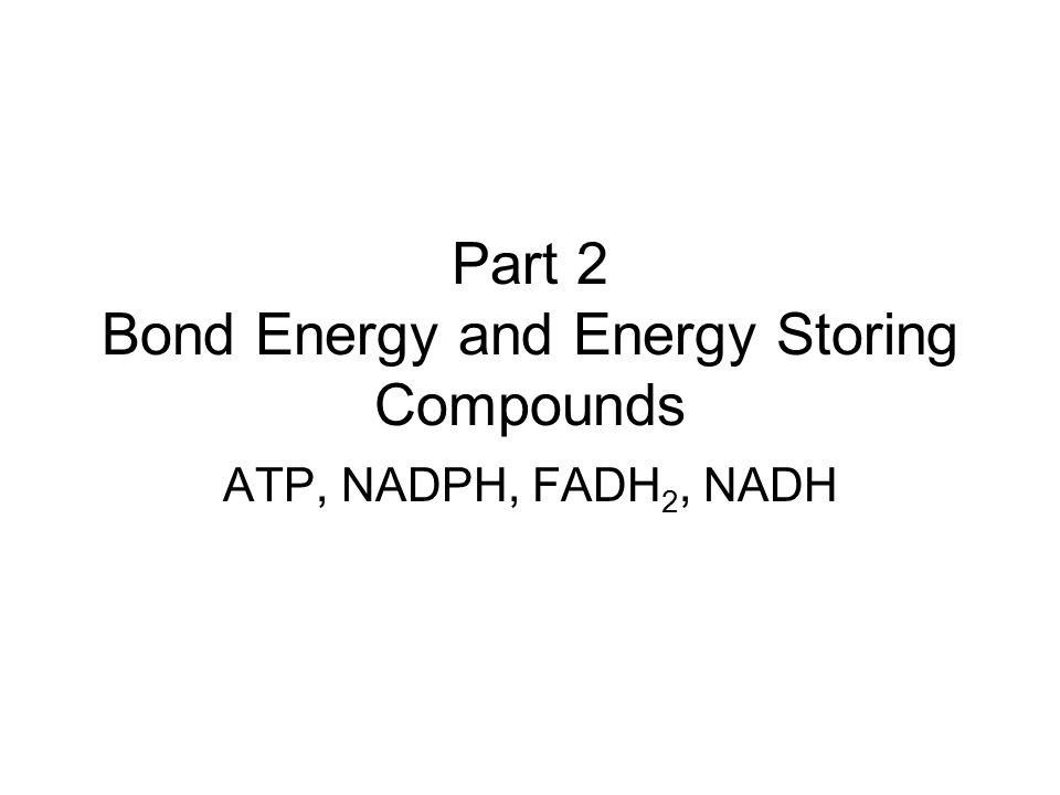 Part 2 Bond Energy and Energy Storing Compounds ATP, NADPH, FADH 2, NADH