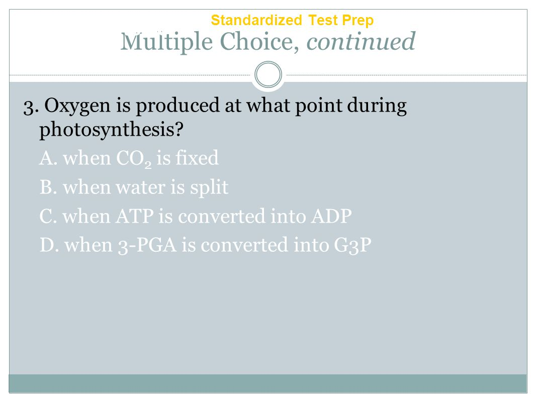 Multiple Choice, continued 2. Which of the following statements is correct about the carotenoid pigments? F. Accessory pigments are not involved in ph