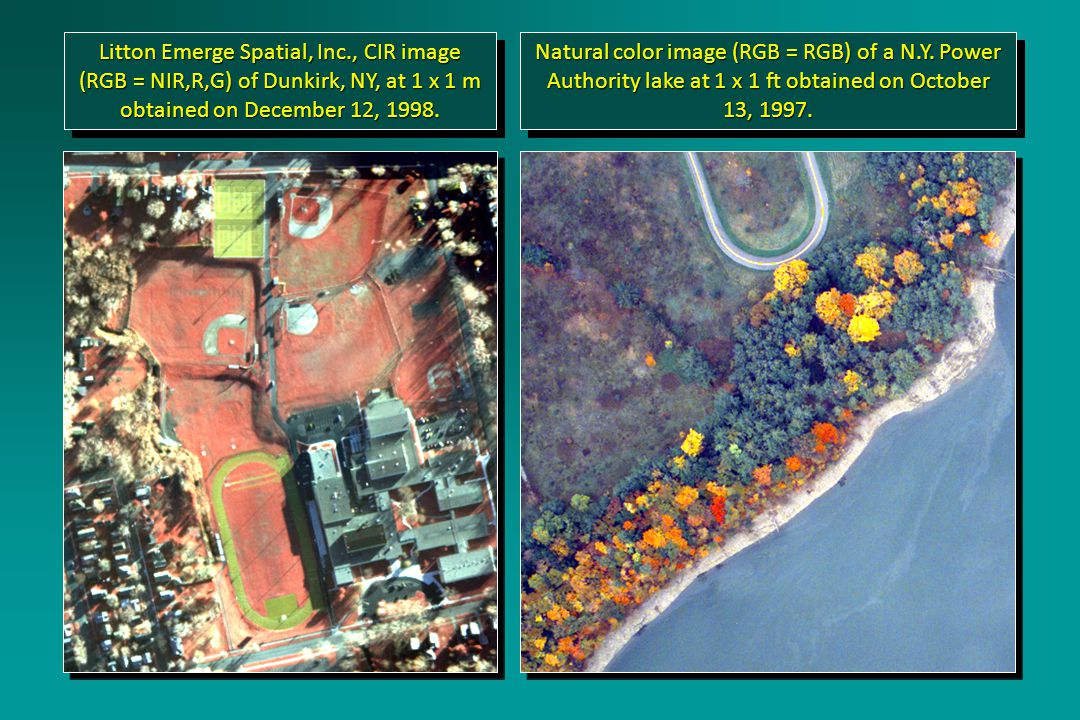 Litton Emerge Spatial, Inc., CIR image (RGB = NIR,R,G) of Dunkirk, NY, at 1 x 1 m obtained on December 12, 1998.