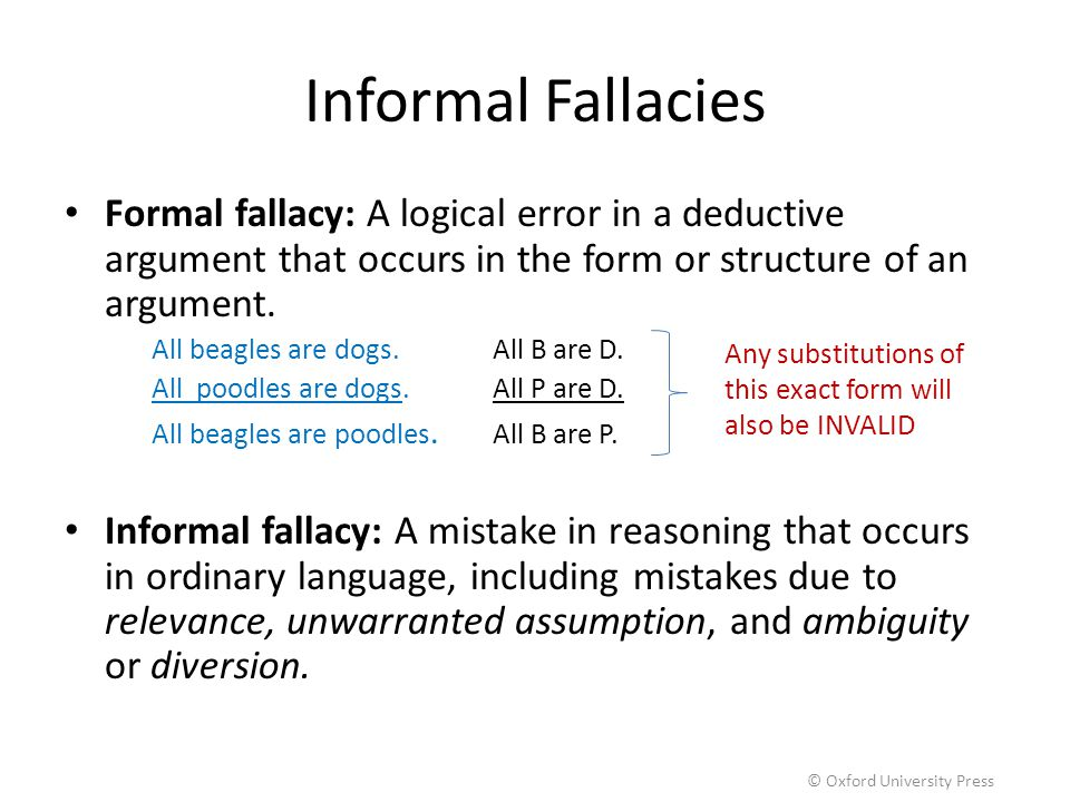 Informal Fallacies Formal fallacy: A logical error in a deductive argument that occurs in the form or structure of an argument. All beagles are dogs.