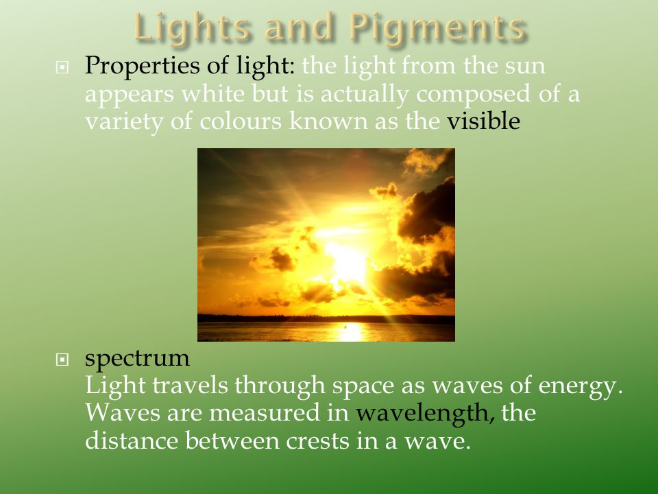  Properties of light: the light from the sun appears white but is actually composed of a variety of colours known as the visible  spectrum Light tra