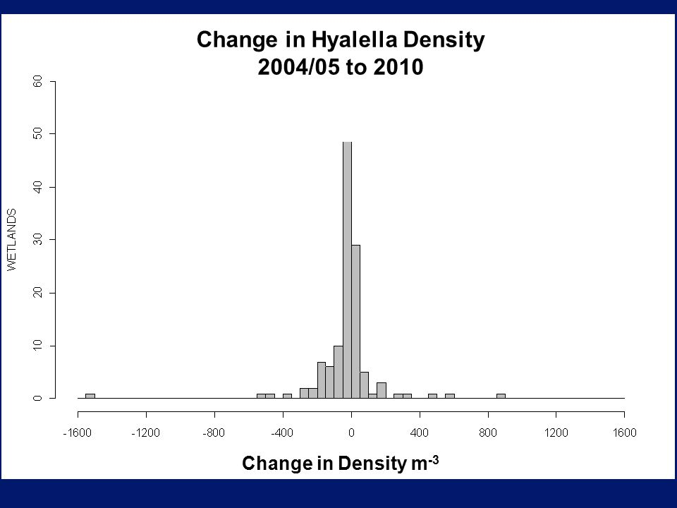Change in Density m -3 Change in Hyalella Density 2004/05 to 2010