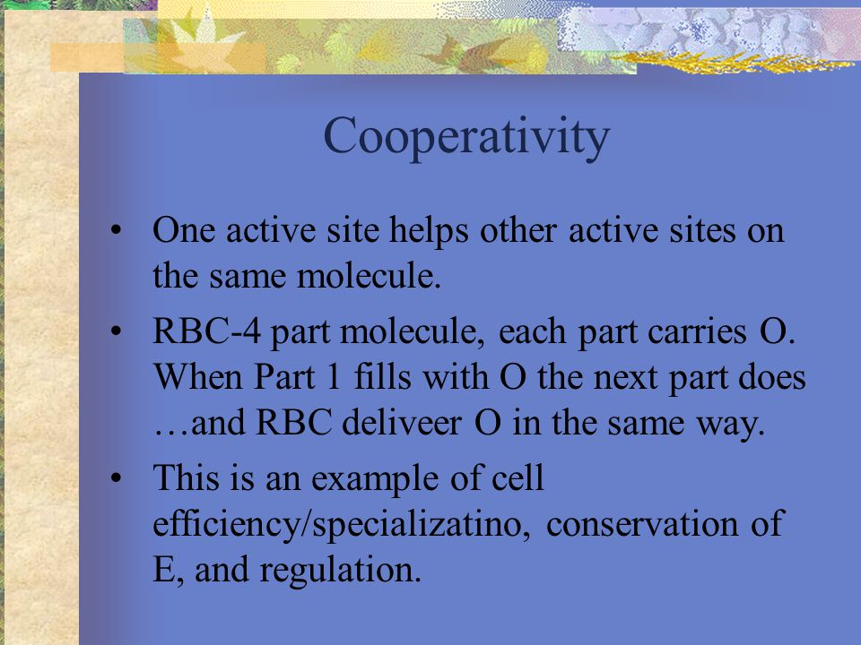 Cooperativity One active site helps other active sites on the same molecule.