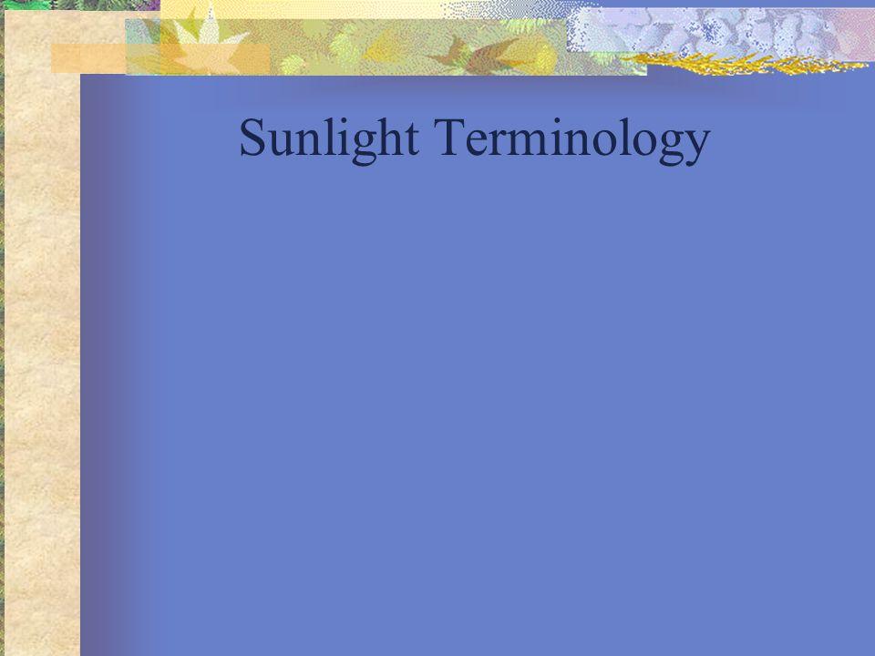 Sunlight Terminology