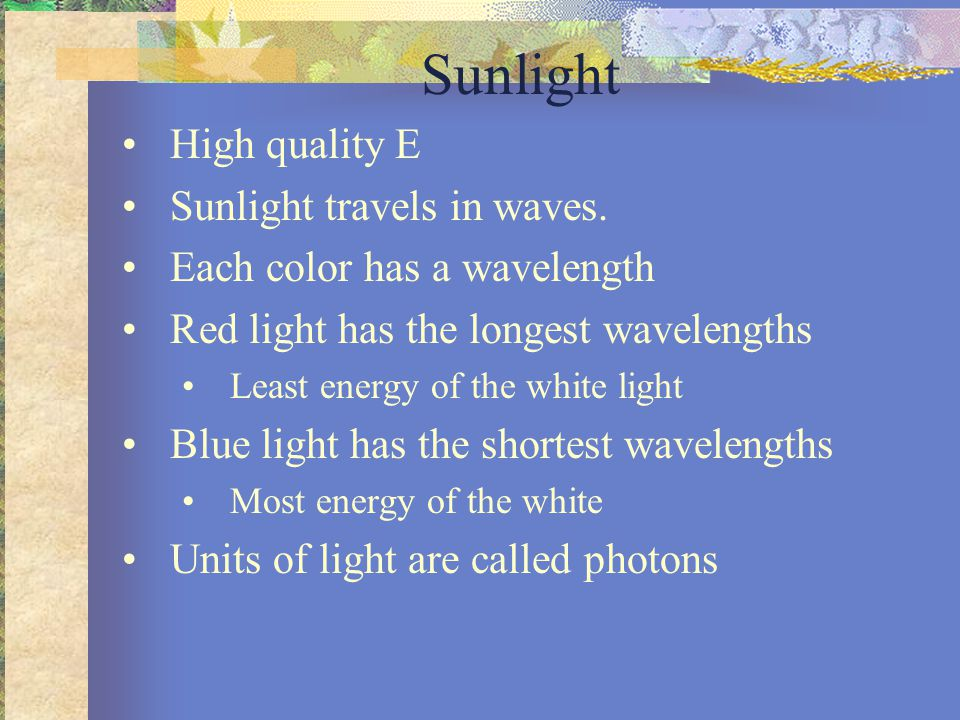 Sunlight High quality E Sunlight travels in waves.