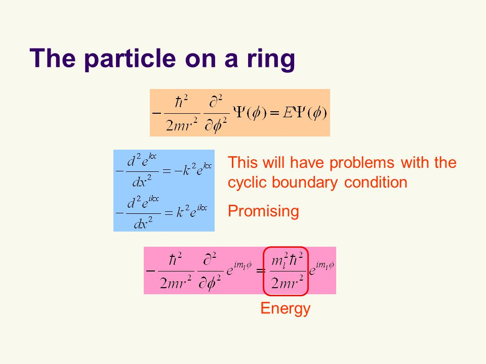 The particle on a ring Promising This will have problems with the cyclic boundary condition Energy