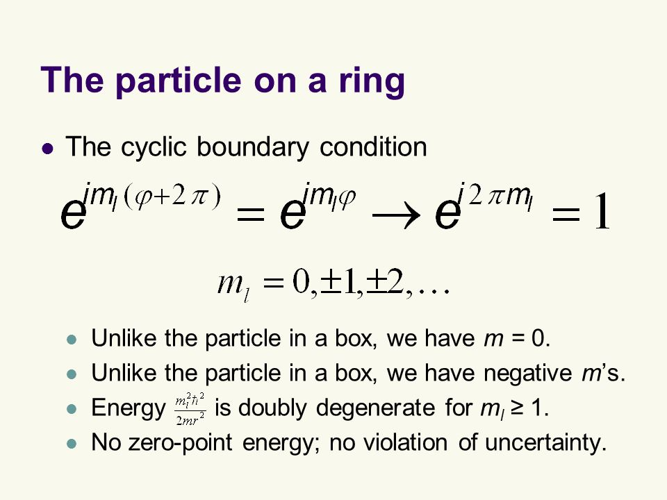 The particle on a ring The cyclic boundary condition Unlike the particle in a box, we have m = 0.