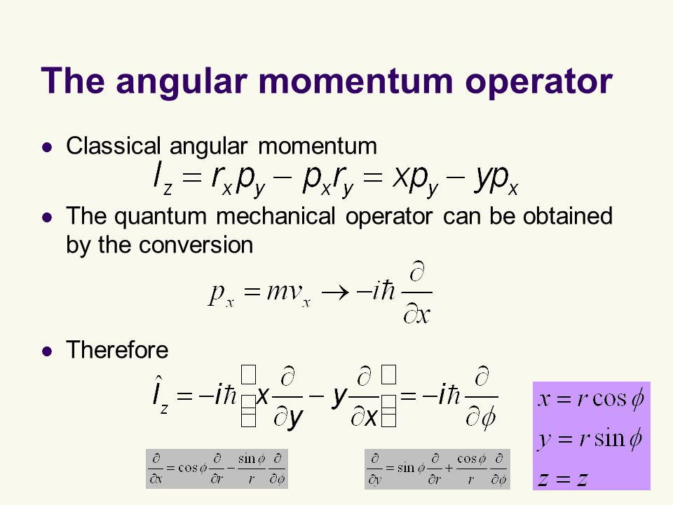 The angular momentum operator Classical angular momentum The quantum mechanical operator can be obtained by the conversion Therefore