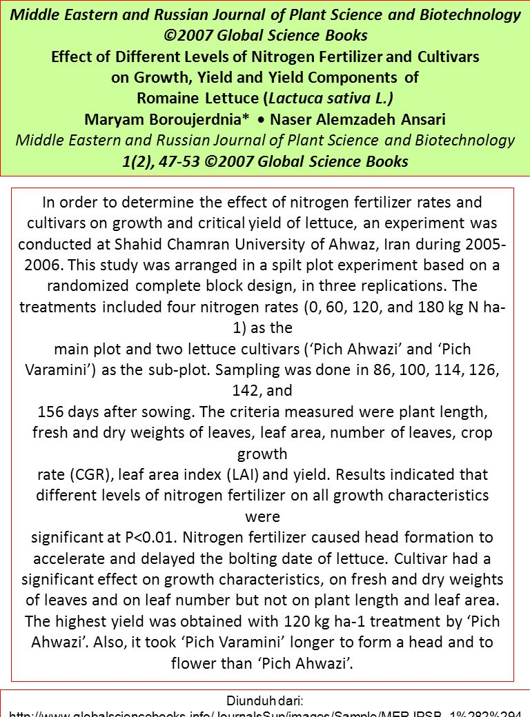 Middle Eastern and Russian Journal of Plant Science and Biotechnology ©2007 Global Science Books Effect of Different Levels of Nitrogen Fertilizer and Cultivars on Growth, Yield and Yield Components of Romaine Lettuce (Lactuca sativa L.) Maryam Boroujerdnia* Naser Alemzadeh Ansari Middle Eastern and Russian Journal of Plant Science and Biotechnology 1(2), 47-53 ©2007 Global Science Books In order to determine the effect of nitrogen fertilizer rates and cultivars on growth and critical yield of lettuce, an experiment was conducted at Shahid Chamran University of Ahwaz, Iran during 2005- 2006.
