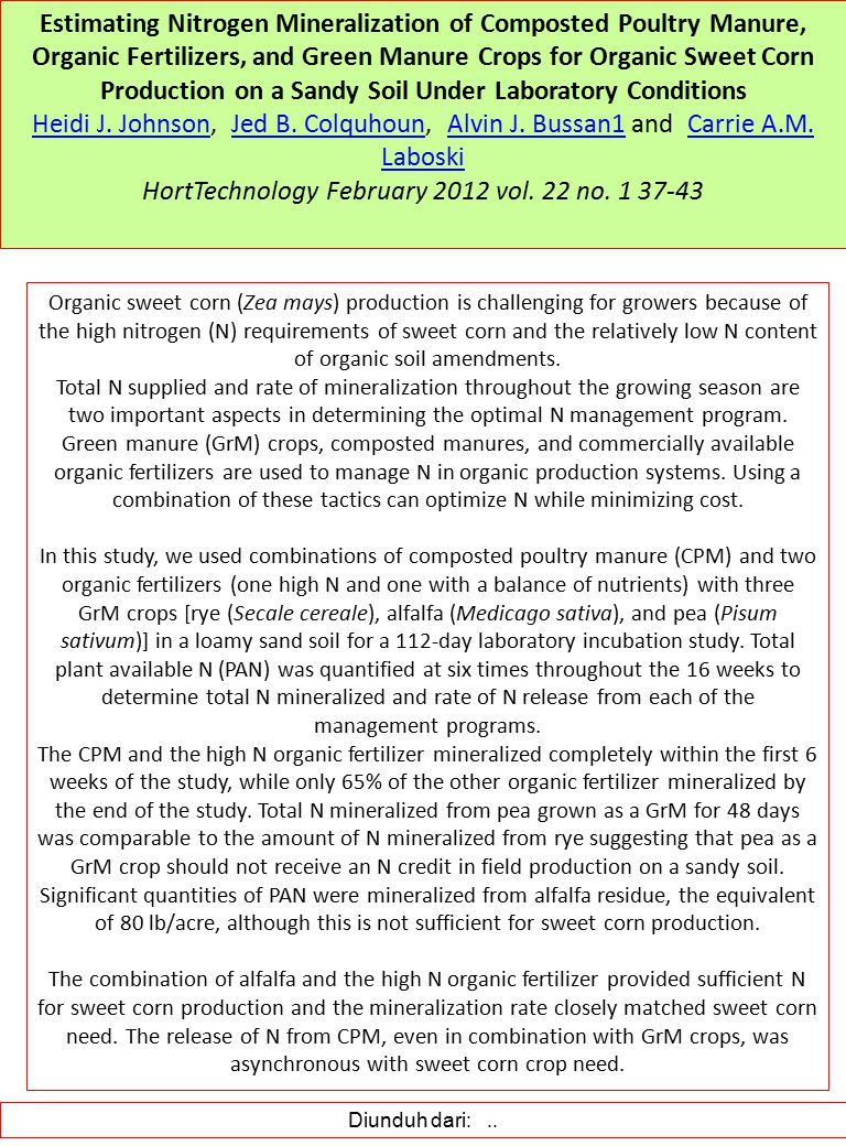 Estimating Nitrogen Mineralization of Composted Poultry Manure, Organic Fertilizers, and Green Manure Crops for Organic Sweet Corn Production on a Sandy Soil Under Laboratory Conditions Heidi J.