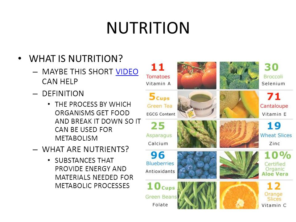 NUTRITION THERE ARE TWO FORMS OF NUTRIENTS – INORGANIC NUTRIENTS VS ORGANIC NUTRIENTS ORGANIC NUTRIENTS INCLUDE: – CARBOHYDRATES, PROTEINS, LIPIDS, NUCLEIC ACIDS, AND VITAMINS INORGANIC NUTRIENTS INCLUDE: – MINERALS AND WATER » CHEMICAL ELEMENTS NEEDED FOR NORMAL FUNCTIONING » EXAMPLE  IODINE