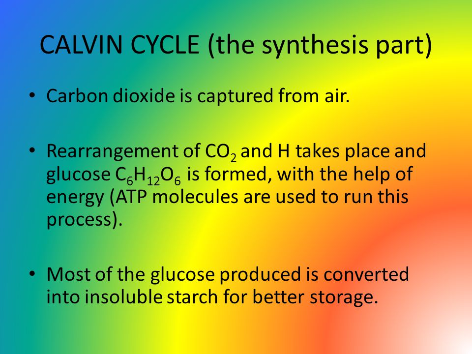 CALVIN CYCLE (the synthesis part) Carbon dioxide is captured from air.