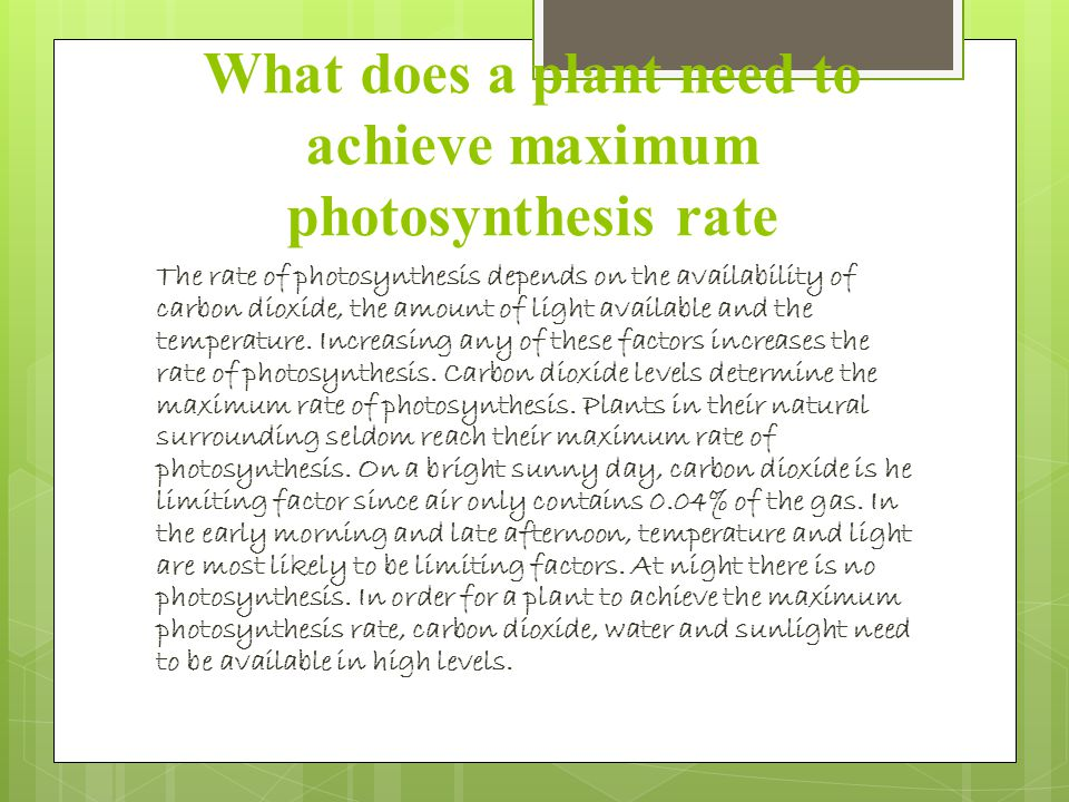 What does a plant need to achieve maximum photosynthesis rate The rate of photosynthesis depends on the availability of carbon dioxide, the amount of light available and the temperature.