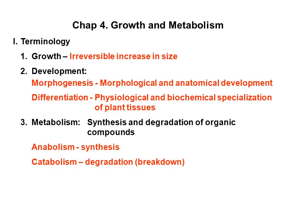 Chap 4. Growth and Metabolism I.Terminology 1.Growth – Irreversible increase in size 2.