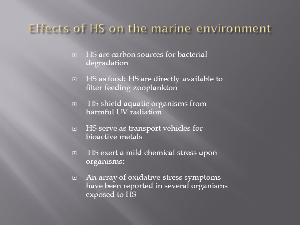  HS are carbon sources for bacterial degradation  HS as food: HS are directly available to filter feeding zooplankton  HS shield aquatic organisms