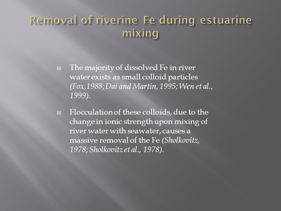  The majority of dissolved Fe in river water exists as small colloid particles (Fox,1988; Dai and Martin, 1995; Wen et al., 1999).  Flocculation of