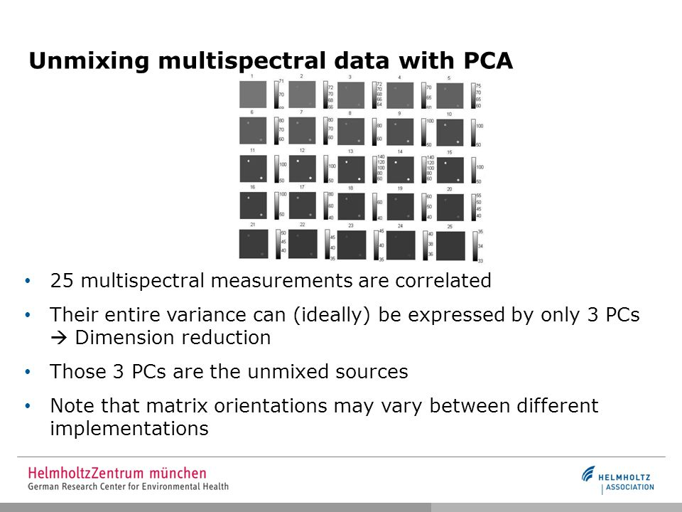 Unmixing multispectral data with PCA 25 multispectral measurements are correlated Their entire variance can (ideally) be expressed by only 3 PCs  Dimension reduction Those 3 PCs are the unmixed sources Note that matrix orientations may vary between different implementations