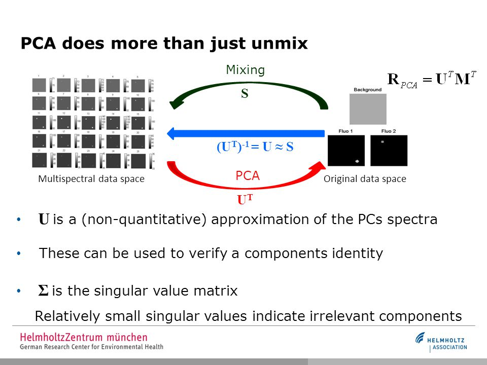 PCA does more than just unmix U is a (non-quantitative) approximation of the PCs spectra These can be used to verify a components identity Σ is the singular value matrix Relatively small singular values indicate irrelevant components Multispectral data space Original data space PCA UTUT Mixing S (U T ) -1 = U ≈ S