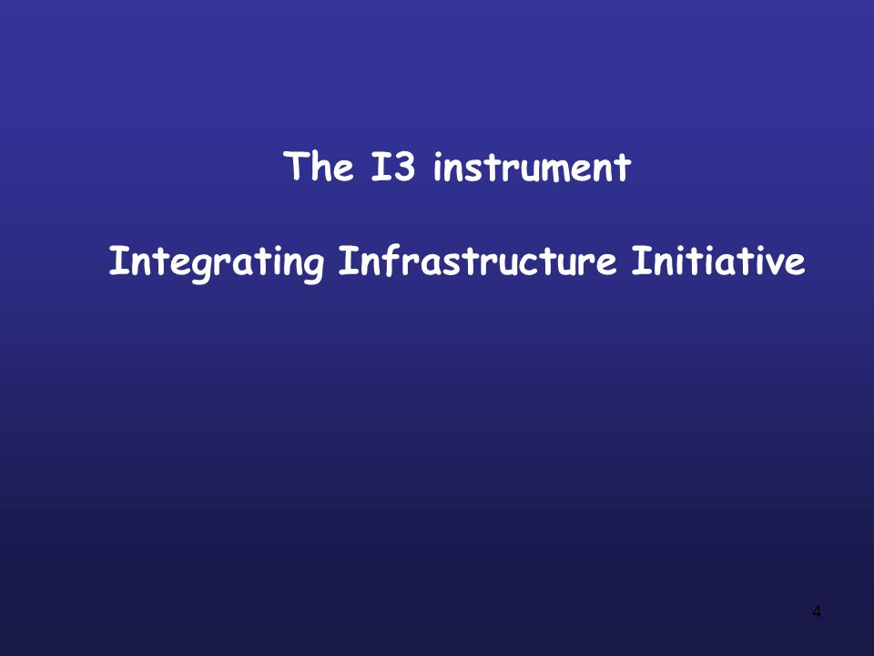 4 The I3 instrument Integrating Infrastructure Initiative