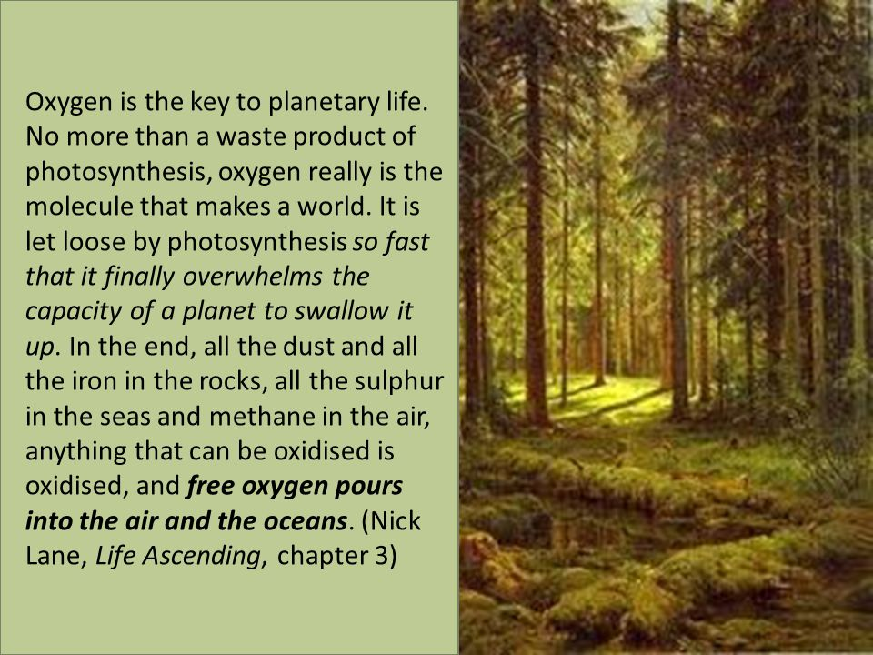 Oxygen is the key to planetary life.