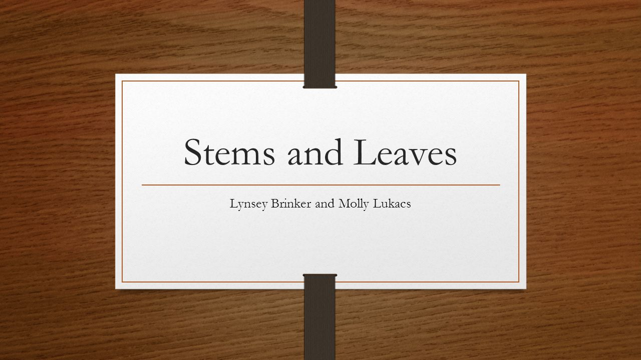 Stems and Leaves Lynsey Brinker and Molly Lukacs