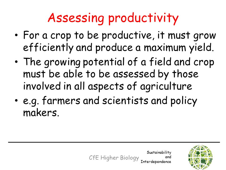 Assessing productivity For a crop to be productive, it must grow efficiently and produce a maximum yield. The growing potential of a field and crop mu