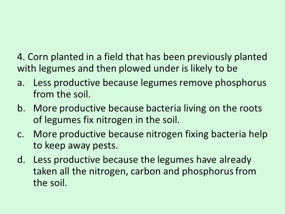 4. Corn planted in a field that has been previously planted with legumes and then plowed under is likely to be a.Less productive because legumes remov