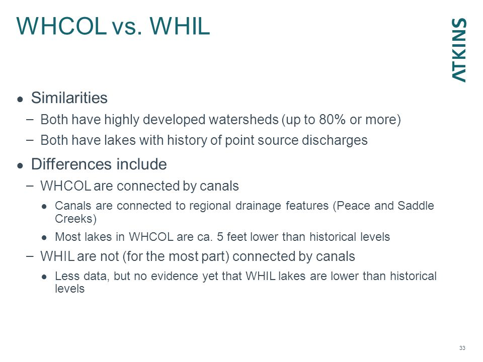 WHCOL vs. WHIL 33 ● Similarities – Both have highly developed watersheds (up to 80% or more) – Both have lakes with history of point source discharges