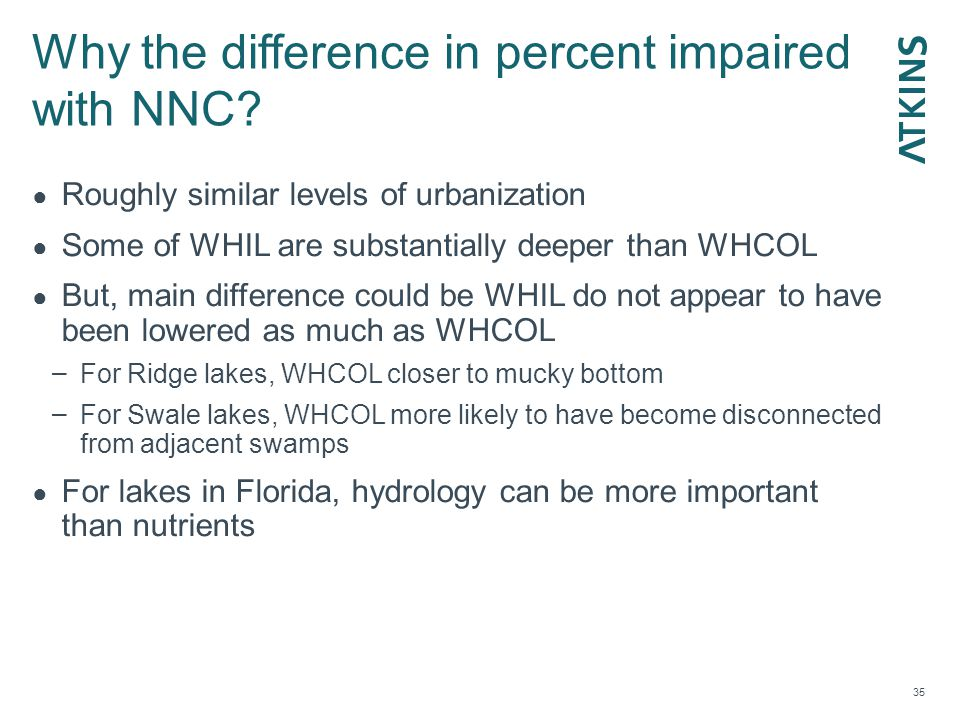 Why the difference in percent impaired with NNC.