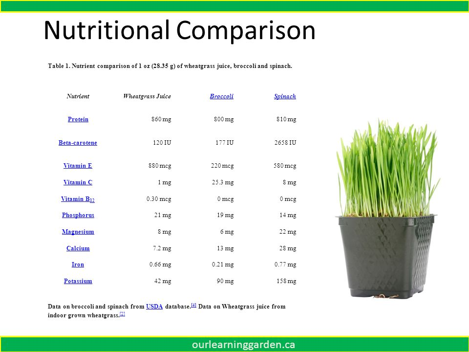 Nutritional Comparison Table 1.