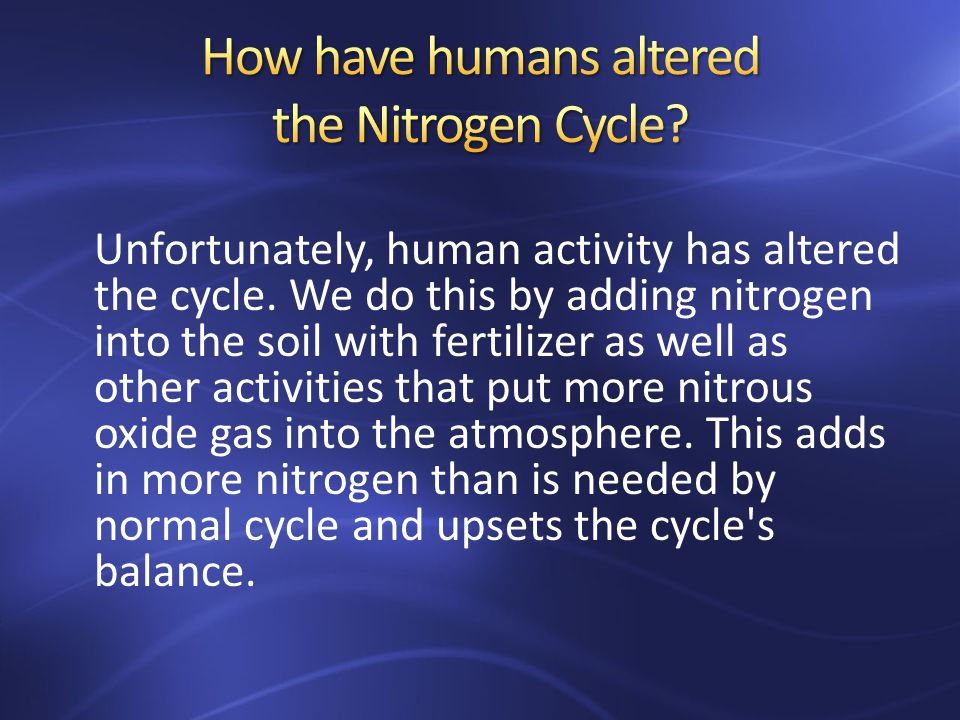 Unfortunately, human activity has altered the cycle.