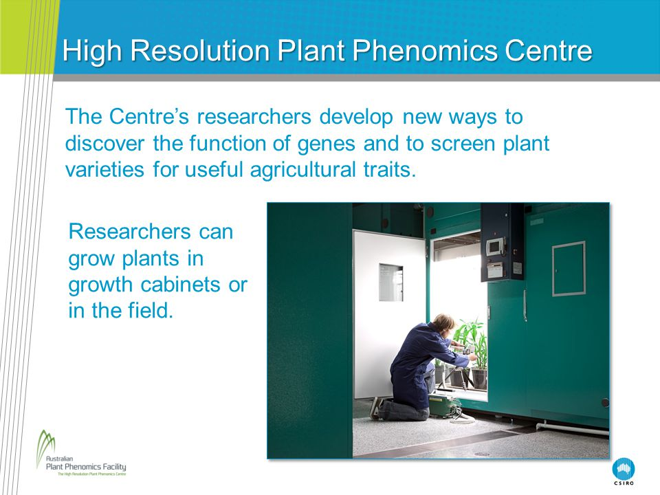 High Resolution Plant Phenomics Centre The Centre's researchers develop new ways to discover the function of genes and to screen plant varieties for u