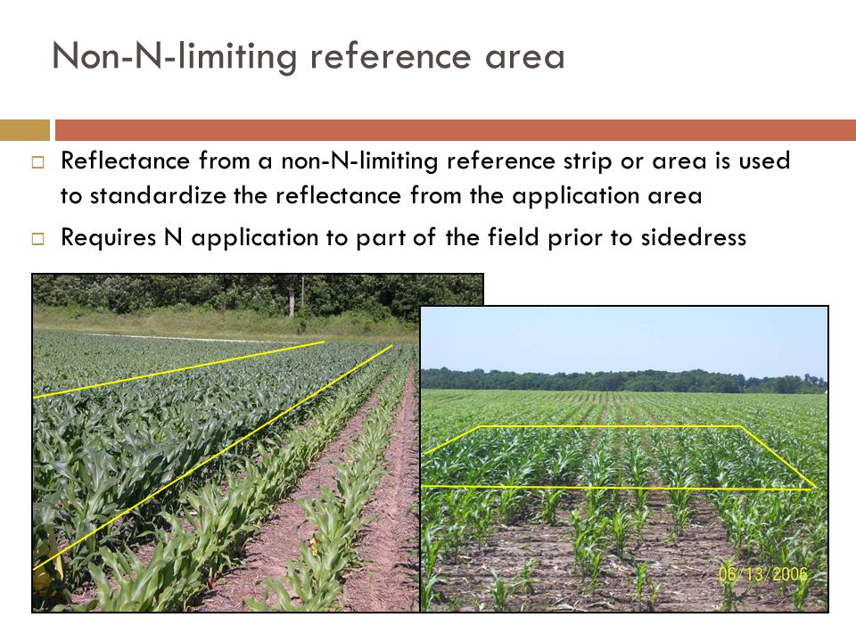 Non-N-limiting reference area  Reflectance from a non-N-limiting reference strip or area is used to standardize the reflectance from the application area  Requires N application to part of the field prior to sidedress
