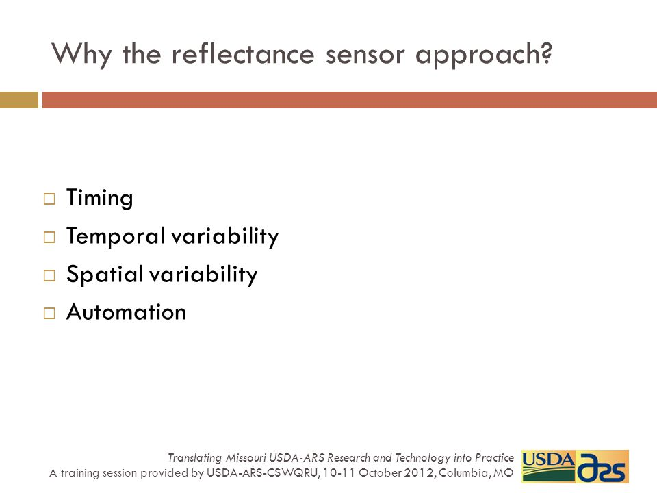 Why the reflectance sensor approach.