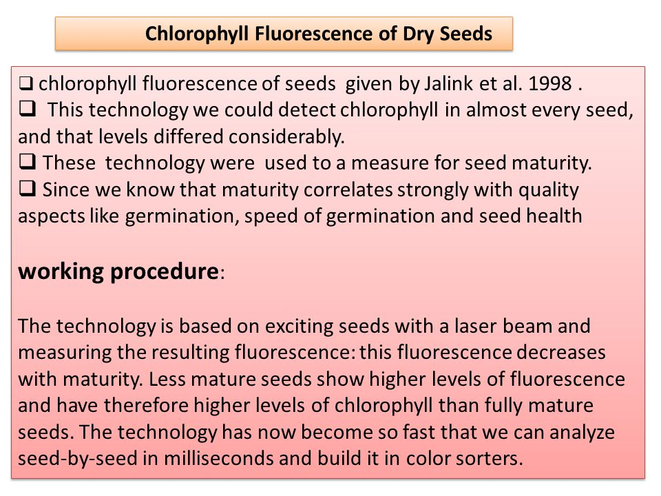  chlorophyll fluorescence of seeds given by Jalink et al.