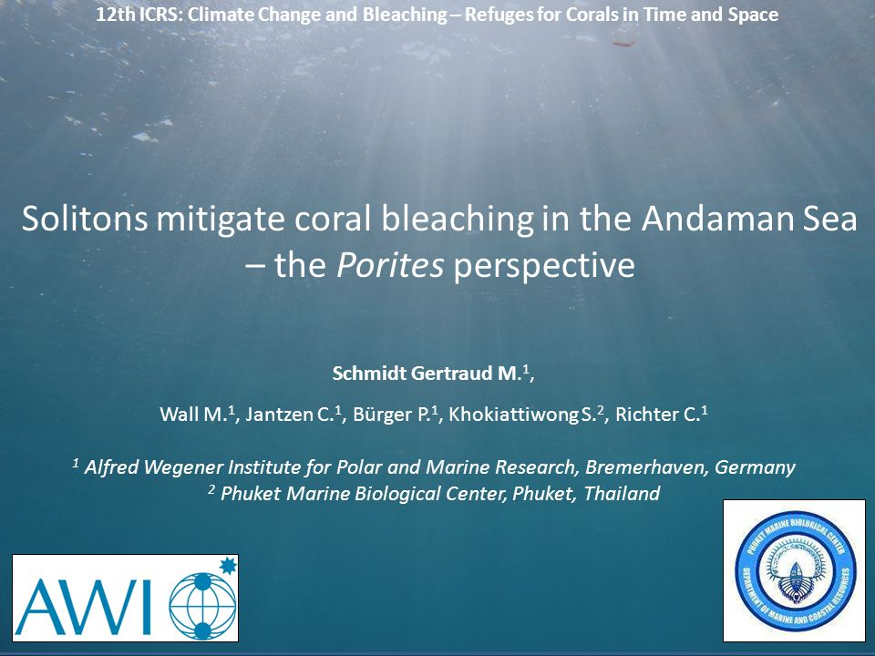 12th ICRS: Climate Change and Bleaching – Refuges for Corals in Time and Space Schmidt Gertraud M. 1, Wall M. 1, Jantzen C. 1, Bürger P. 1, Khokiattiw