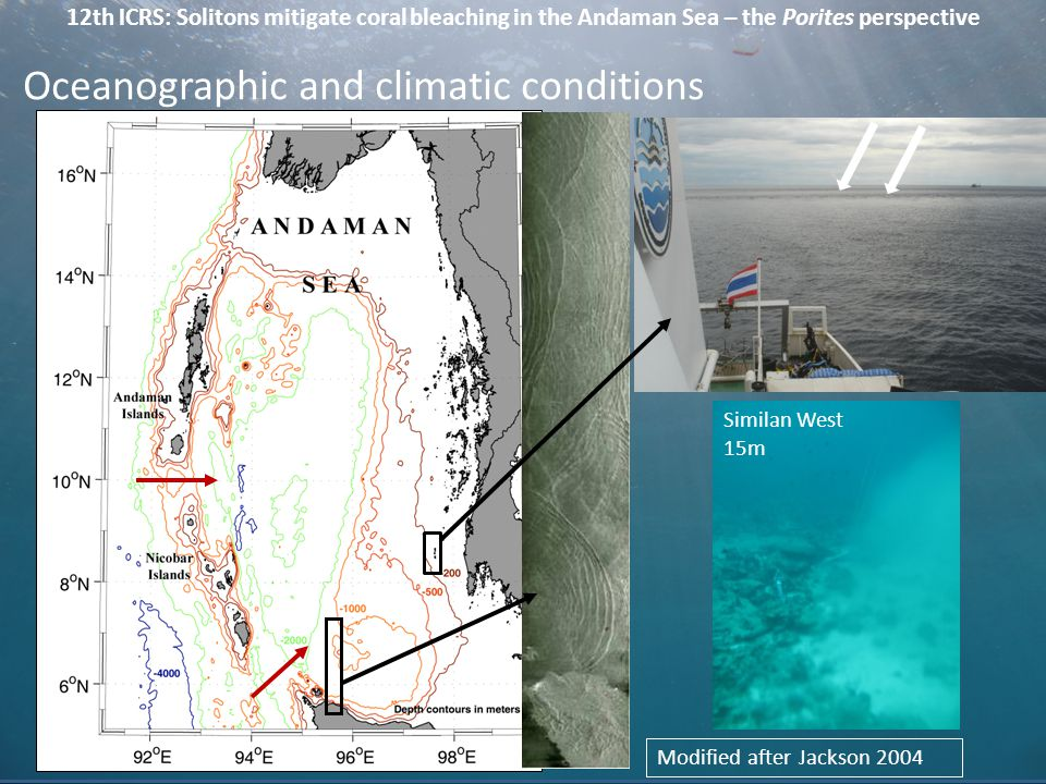 12th ICRS: Solitons mitigate coral bleaching in the Andaman Sea – the Porites perspective Modified after Jackson 2004 Large amplitude internal waves (