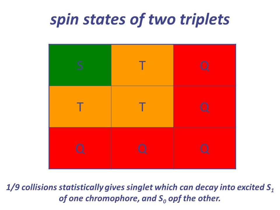 spin states of two triplets STQ TTQ QQQ 1/9 collisions statistically gives singlet which can decay into excited S 1 of one chromophore, and S 0 opf th