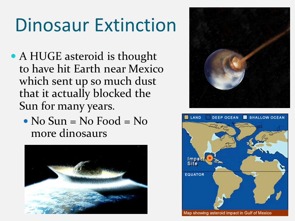 Dinosaur Extinction A HUGE asteroid is thought to have hit Earth near Mexico which sent up so much dust that it actually blocked the Sun for many years.