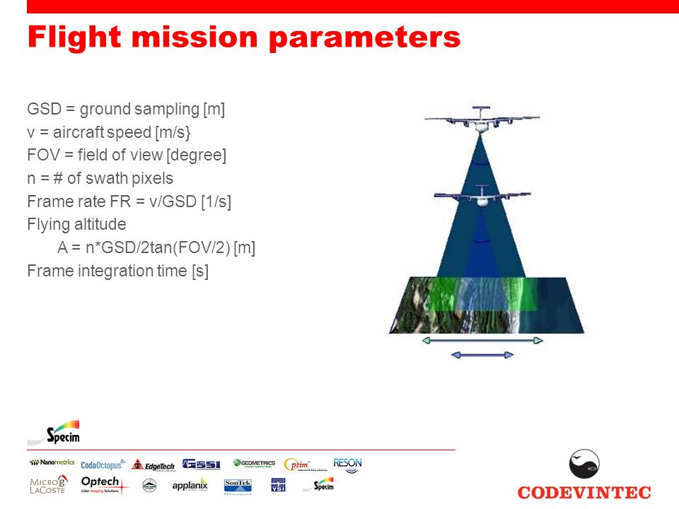 Flight mission parameters GSD = ground sampling [m] v = aircraft speed [m/s} FOV = field of view [degree] n = # of swath pixels Frame rate FR = v/GSD [1/s] Flying altitude A = n*GSD/2tan(FOV/2) [m] Frame integration time [s]