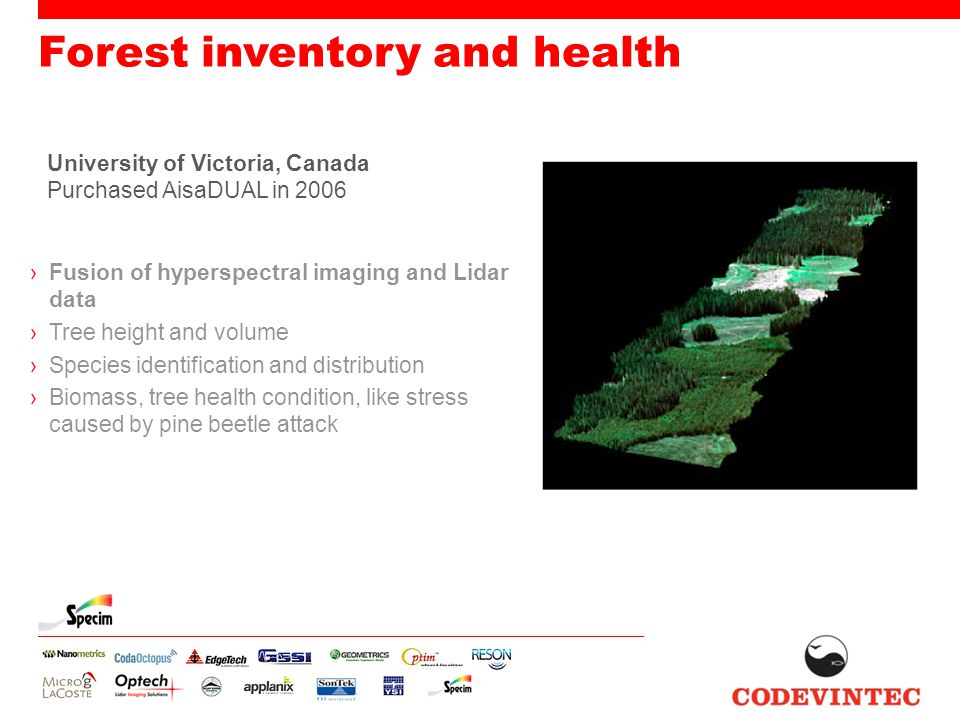 Forest inventory and health ›Fusion of hyperspectral imaging and Lidar data ›Tree height and volume ›Species identification and distribution ›Biomass,